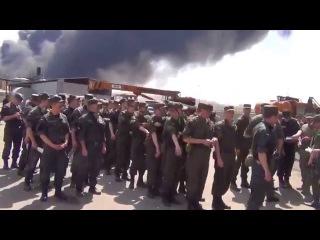 Нац  Гвардия и ГСЧС на ликвидации пожара на нефтебазе
