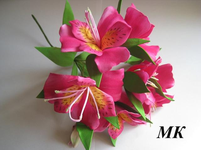 Цветы из фоамирана Веточка Альстромерии МК Часть 1 DIY