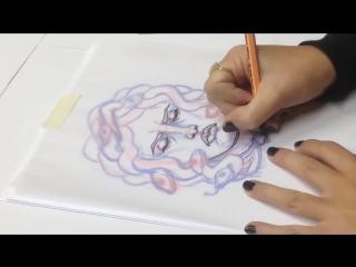 Sofia Iori for Tesla tattoo - Medusa speed drawing