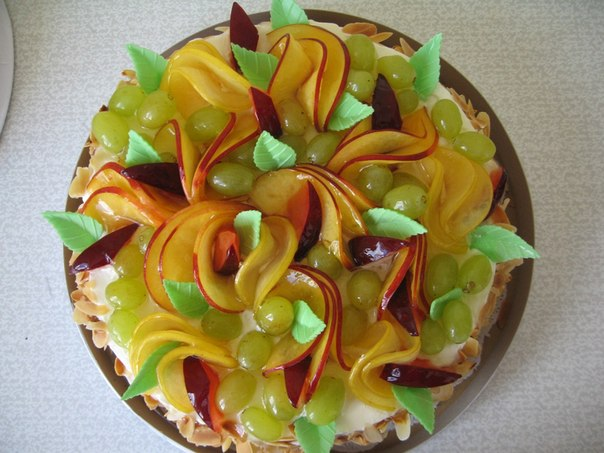 Мастер класс украшение из фруктов для торта 43