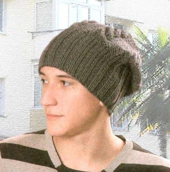 Мужские вязаные шапки своими руками фото
