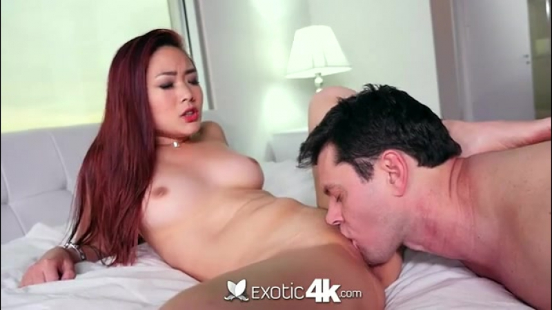 Asian Lea Hart chokes on dick and rides big
