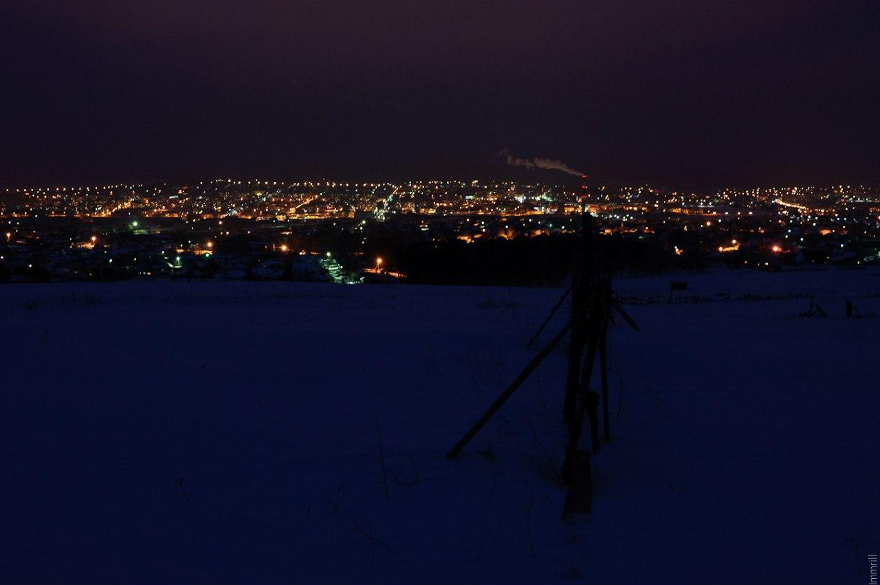 Ночная Лысьва, вид с горы Каланча
