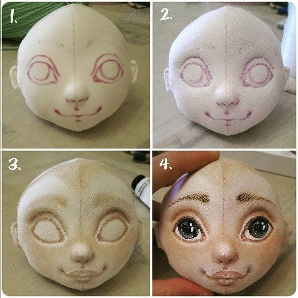 Чем рисовать лицо на текстильной кукле