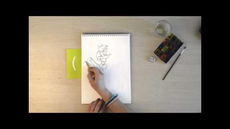 Abakabook учит рисовать. Рисуем карандашом. Дятел Вуди (Вуди Вудпеккер)