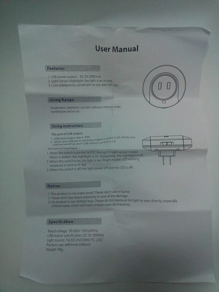GearBest: Прикольный ночничок с ЮСБ выходами