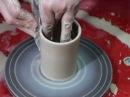 Обучение гончарству Делаем цилиндр Throwing a simple pottery cylinder on the wheel