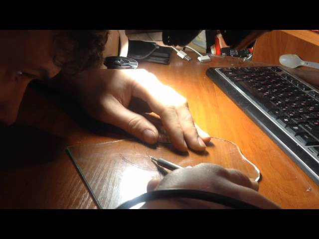 Резка стекла паяльником Cutting the glass with a soldering iron 2