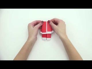 Оригами - Делаем деда мороза origami santa 2015