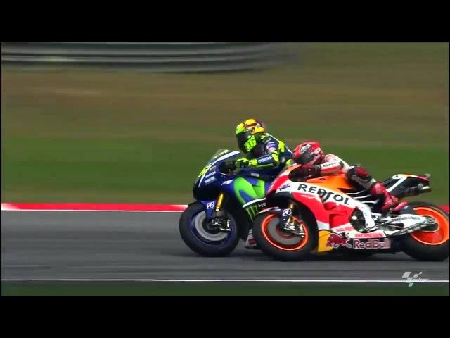Rossi vs Marquez in Moto GP Sepang Malaysia and Marquez Crash