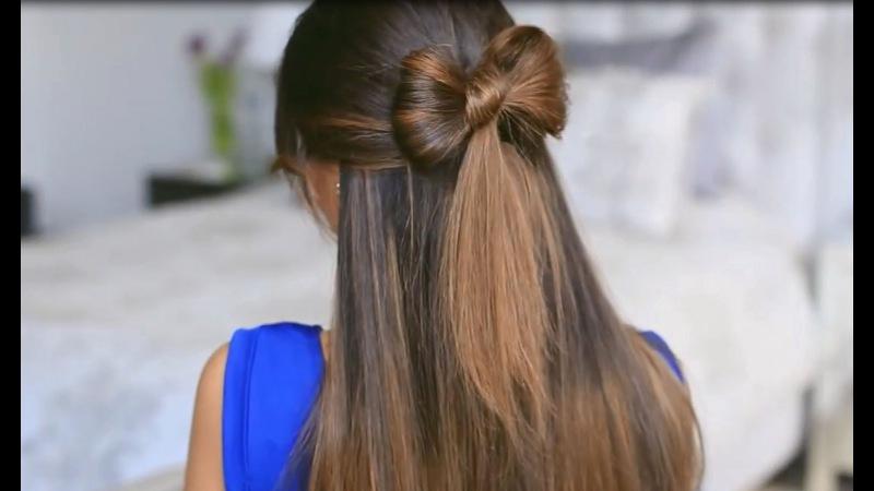 Прически для девочек из длинных волос бант