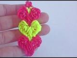 Браслет Переплетение сердец из резинок Rainbow Loom Крючком, Без станка, Радужки...