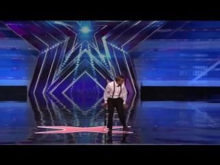 Uzeyer Novruzov: Man Channels Charlie Chaplin During Ladder Stunt - America's Got Talent 2015