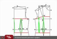Выкройка сарафана для девочки с завязками на лифе переда. .  3 шаг построения: выкройка джинсы. .