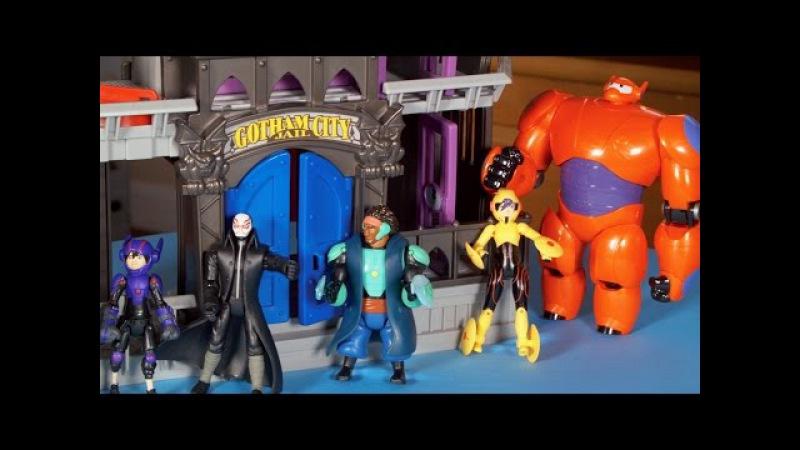 Big Hero 6 toys Disney Hiro Hamada Baymax, Batman Gotham City Jail Play Doh Honey Lemon Go Go Tomago