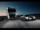 Volvo Trucks vs Koenigsegg one 1 (2 зверя на одной трассе)