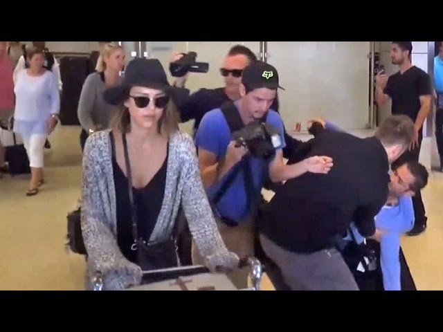 Jessica Alba Sparks Chaos Pushing Her Own Luggage At LAX