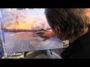 Зима Закат, художник Игорь Сахаров, уроки рисования, живопись маслом