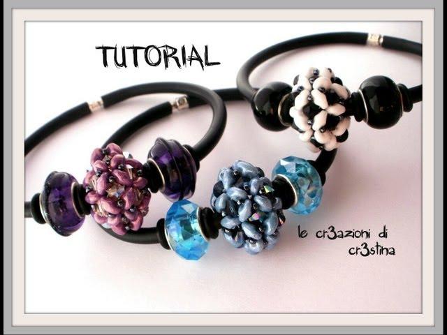 Tutorial Pandorina con Superduo/ Twin Beads, Bicono Swarovski 4 mm, Rocailles - DIY Beaded Bead