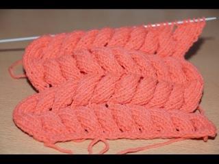 Вязание спицами для начинающих. Схема, узор  - Азиатский колосок  ///  Knitting for beginners.