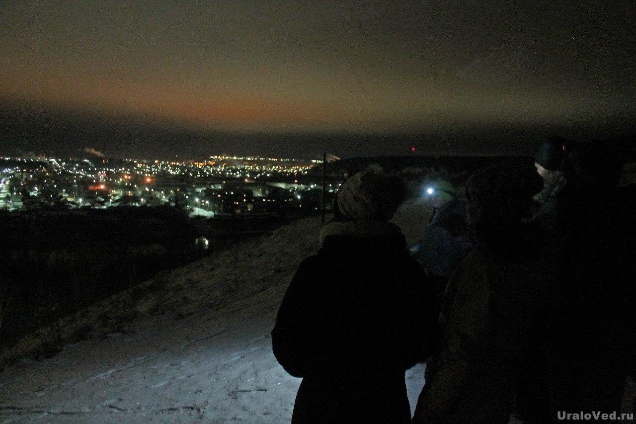 Ночная прогулка на Ледяную гору, вид на ночной Кунгур