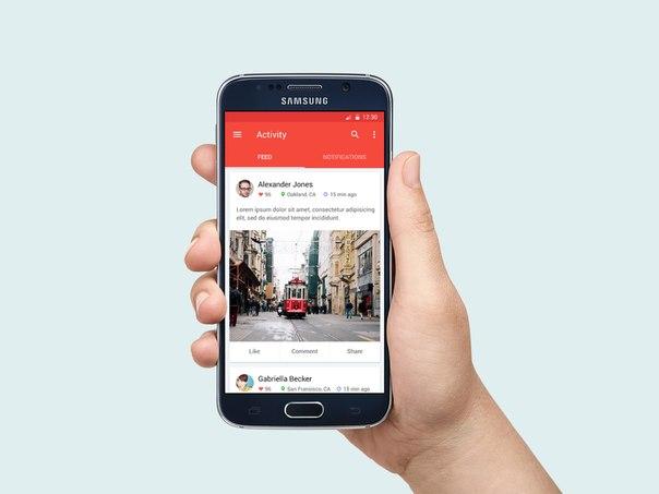 PSD шаблон с рукой для Samsung Galaxy S6