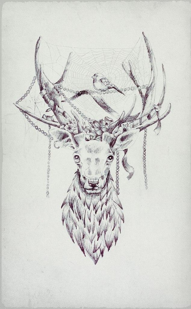 Рисунок девушка олень