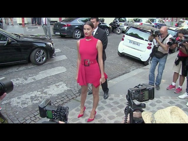 EXCLUSIVE - Lady in red Irina Shayk stuns at the Vogue Party in Paris