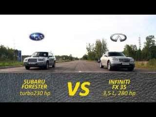 Заезд subaru forester 230 hp VS infiniti fx35 280 hp субару форестер против инфинити фх35