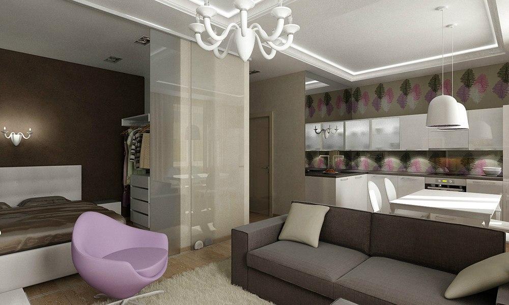Концепт квадратной студии 39 м для девушки-студентки в Пушкине.