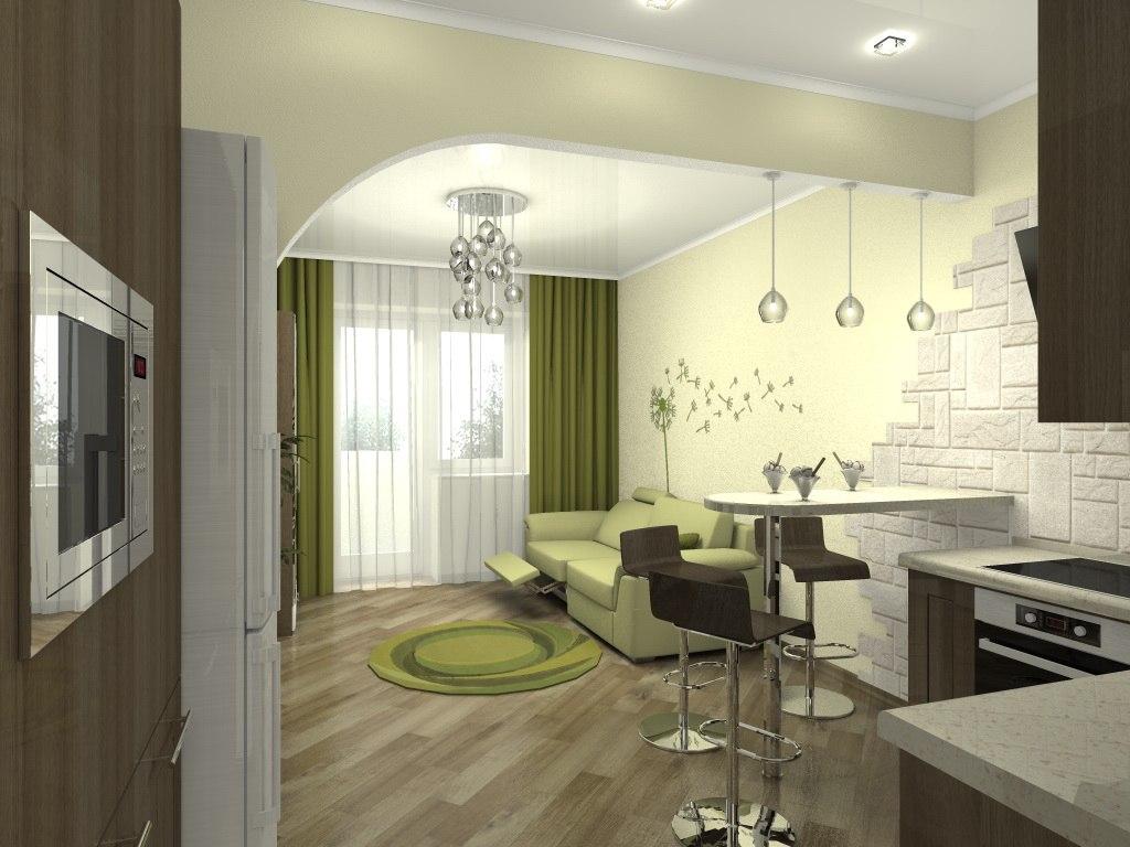 Проект 3 для квартиры-студии 28 м с полуаркой между кухней и гостиной от застройщика микрорайона Левобережный в Туле.