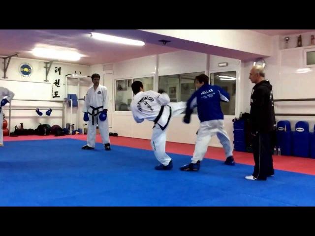 Master Vasilis Alexandris teaching ITF Taekwon-do advanced sparring class.