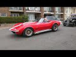 [4K] Corvette Stingray and Mustang leaving Eastbourne