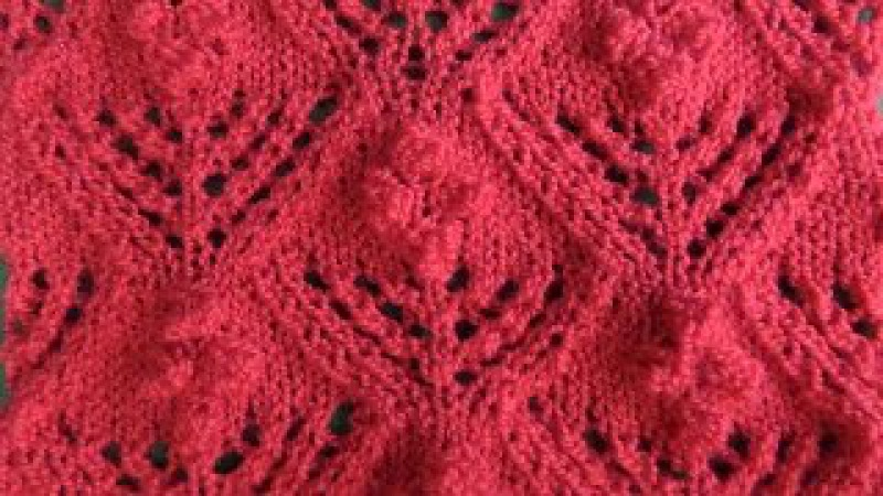 Вязание узора с шишечками спицами