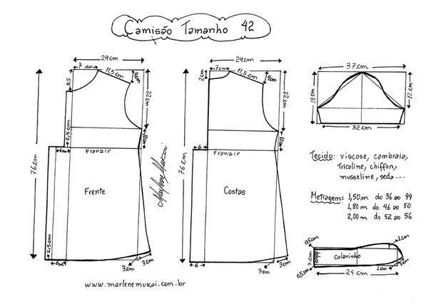 Выкройка туники с рукавами 48 размера