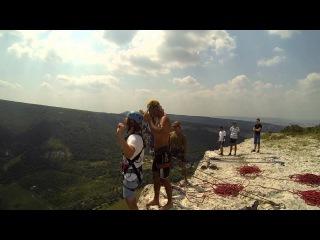 Александр на 5 гроте Качи-Кальона Роупджампинг в Крыму с командой Скайлайн