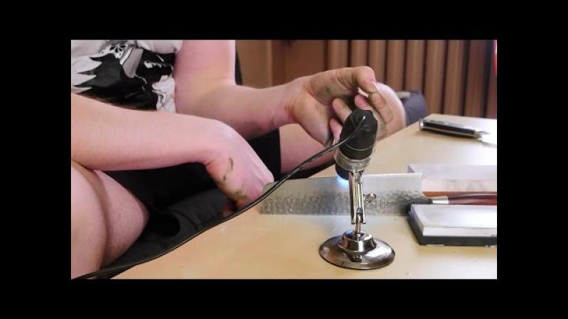 Заточка ножа до бритвенной остроты (под микроскопом)