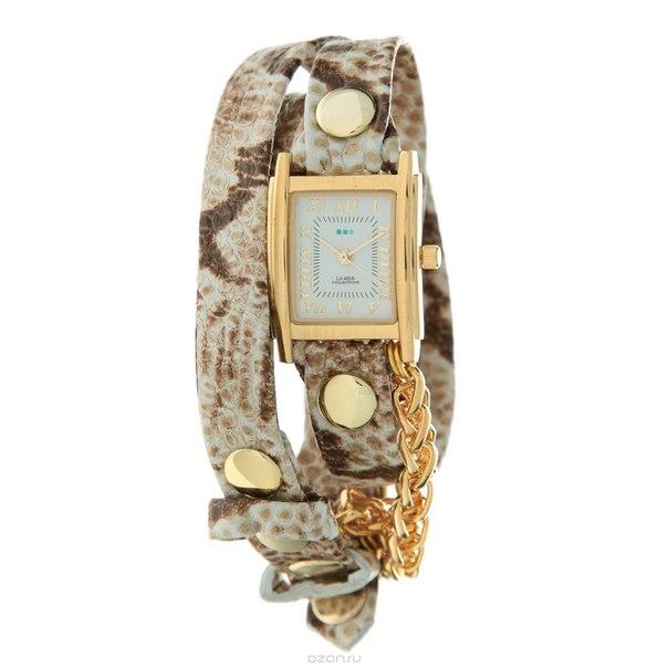 "Часы наручные женские ""chain motor white brown snake gold"". lmscw2014x, La Mer Collections"
