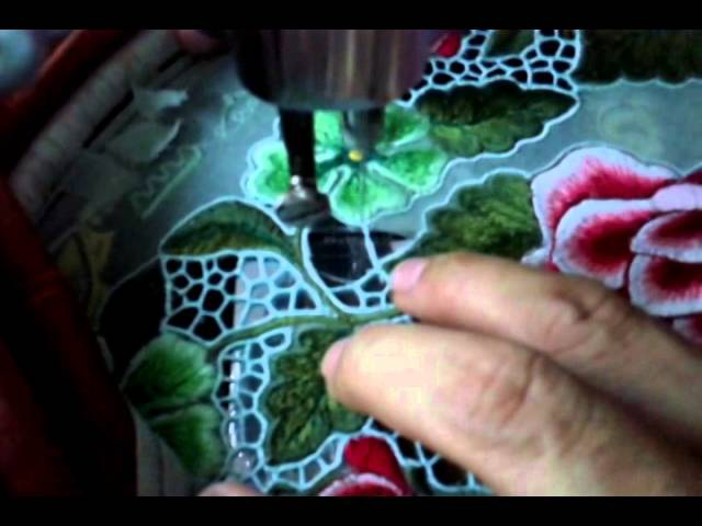 Embroidery open cutwork process with Afiq