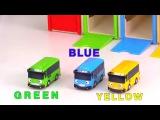 Toy Cars Clown & TAYO Bus Garage - Learn Colors with Toy Buses! Развивающее видео для детей - Учим цвета вместе с клоуном Димой и Тайо.