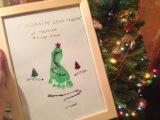 Новогодняя открытка Елочка своими руками при помощи отпечатка ноги или руки ребенка
