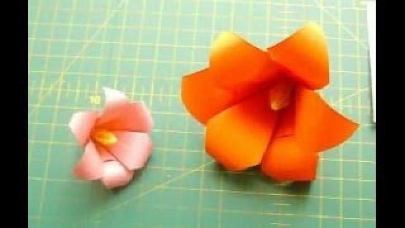 Как Сделать Цветы Лилии из Бумаги Своими Руками Оригами Цветок из 6 Лепестков Origami Lily