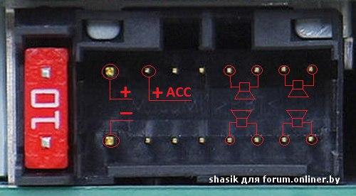 Схема распиновки автомагнитолы