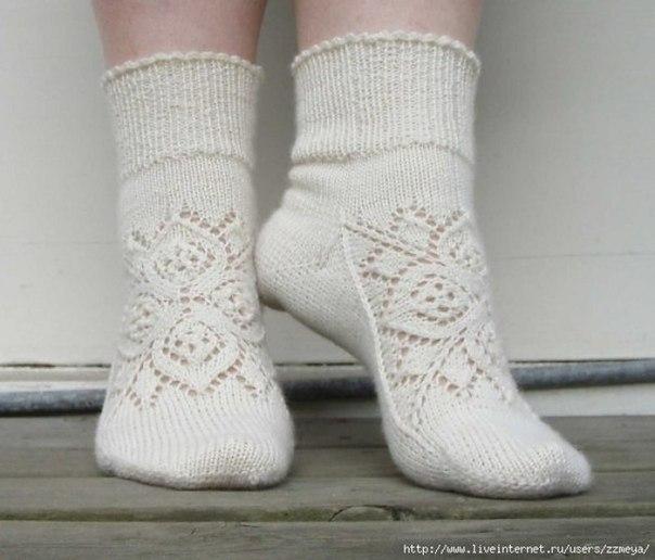 Ажурные носочки. Вяжем спицами. (3 фото) - картинка