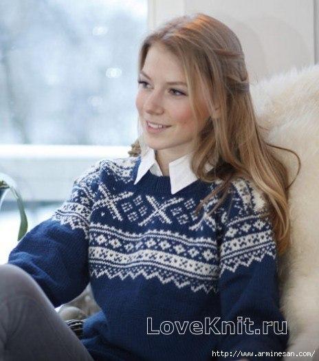 ДЖЕМПЕР С НОРВЕЖСКИМ УЗОРОМ (3 фото) - картинка