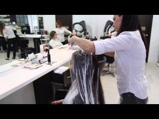 Шелковое брондирование волос красителем Chi в салоне красоты Naturel Studio