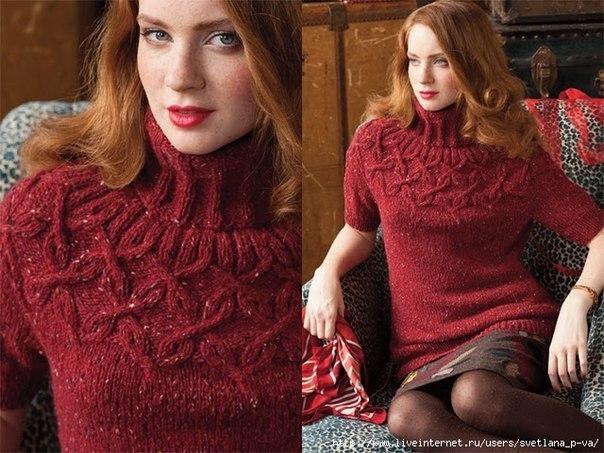Пуловер с арановой кокеткой (3 фото) - картинка