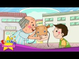 A Lazy Boy Who Became a Cow - What are you doing (present progressive) - English story for Kids