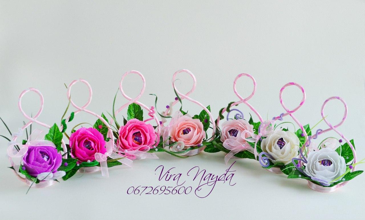 Цветы конфет и из гофрированной бумаги своими руками