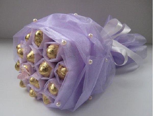 Букеты из конфет и ткани своими руками пошаговое фото